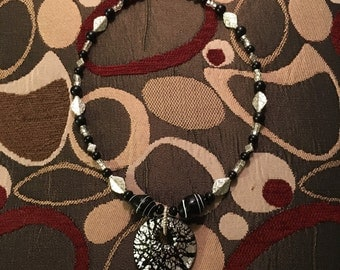 Recycled Black and Silver Glass Necklace