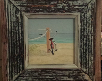 A Day at the Beach, fine art, beach scene, bicycle