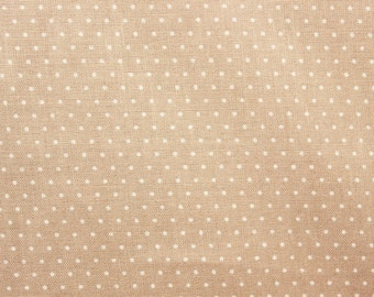 Polka dot Fabric, Polkadot Fabric, Cotton Fabric, Beige, Light Brown, Tiny Dots, Sand, Sewing Quilting Dressmaking Supplies,Wide, Half Metre