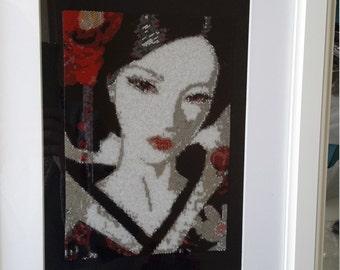 Oriental lady peyote tapestry