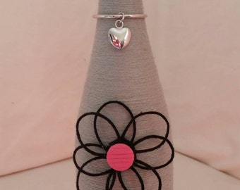 Custom twine wrapped wine bottle with flower / upcycled bottle/ string covered / bud vase / candle holder / ornamental / home decor