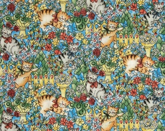 Purr-fect Garden 7159-2 - Kittens & Flowers Blue from Exclusively Quilters