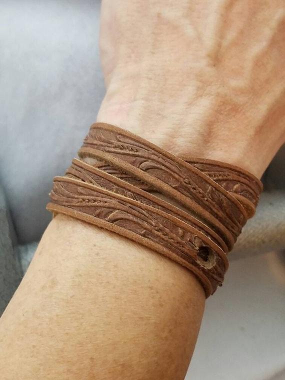 Floral Leather Wrap Bracelet, Brown Leather Wrist Wrap, Turquoise Leather Wrist Wrap, Floral Tooled Leather, Black Leather Bracelet Gifts