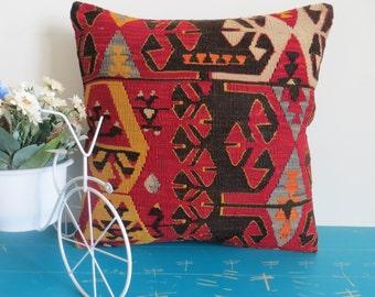 40x40cm dark red kilim pillow wool cushion pillow - 118a