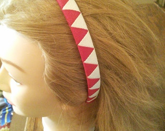 Red and White Diamond Pattern Headband