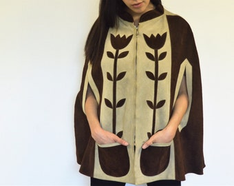 Leather Suede Brown and Tan Floral Poncho with Pockets // Ideal // 70's