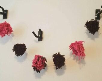 Pink and Brown Yarn PomPom Garland