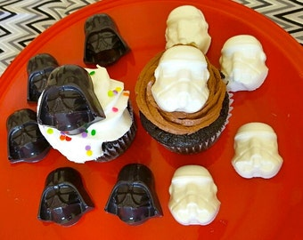 18 Star Wars Themed Edible Chocolate Cupcake Toppers, Darth Vader, Storm Troopers, Star Wars Party, Party Favor, Star Wars