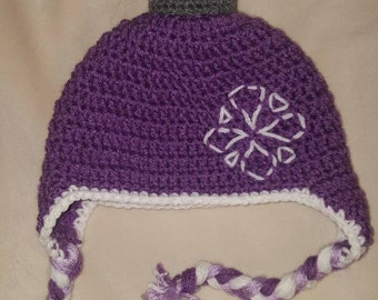 Sofia the first inspired  crocheted hat.