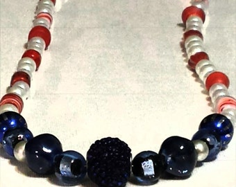 4th of July, Red White and Blue, Beaded Necklace