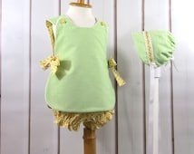 Baby Girl Apron Dress, Bonnet , Bloomers, Handmade, Size 9 to 12 Months, Summer Ensemble, Vintage Classic Style, Easy Dressing, Cool, Comfy