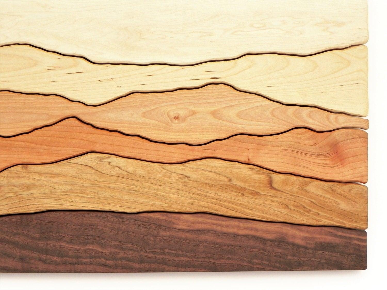 Modern Wood Wall mountain scene wood wall art /sugar maple, yellow birch, red birch