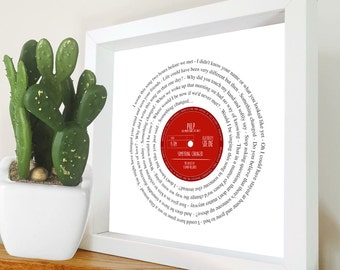 Any favourite song lyrics Vinyl Record unframed print PERSONALISED LABEL - wedding first dance, your song, anniversary romantic gift