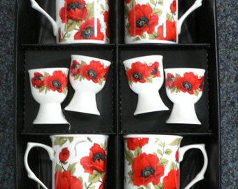 Poppy Bone china mugs and egg cups - set of 4 gift boxed mugs and matching eggcups