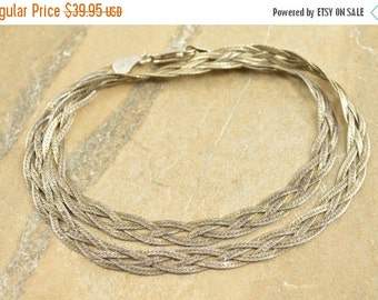 ON SALE Braided Textured Herringbone Necklace Sterling Silver 10.6g Vintage Estate