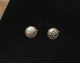 Vintage Pierced Earings, Silvertone