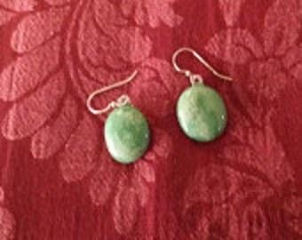 Green Mist Earrings Fused Glass