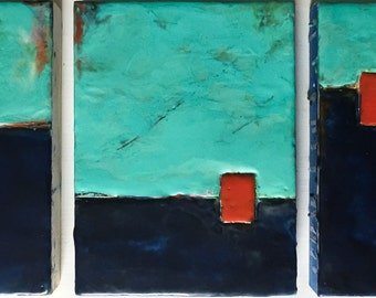 "Original Encaustic Art ""Portals to Nowhere Series #1"" 18x8""  abstract mixed media encaustic painting"