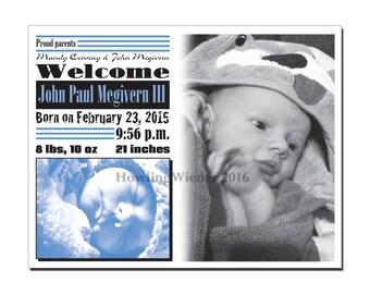 Baby Announcement CUSTOM Birth Announcement Printable Newborn