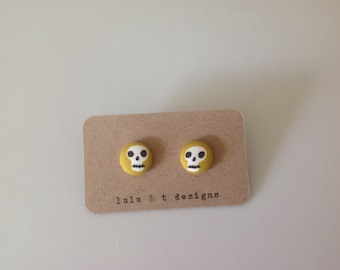 Skull fabric covered button earrings studs