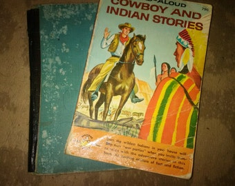 Vintage children's cowboy books.   Wagons West, and Cowboy and Indian Stories