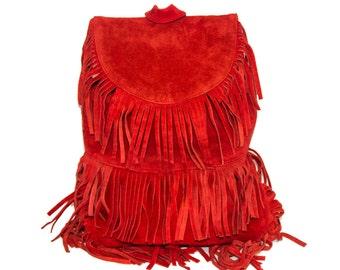 Suede Fringe Hipster Backpack | 80's Boho Style | Red