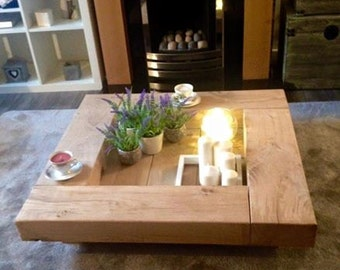 Oak sleeper Coffee Table. wooden coffee table, table, wood coffee table, sleeper coffee table