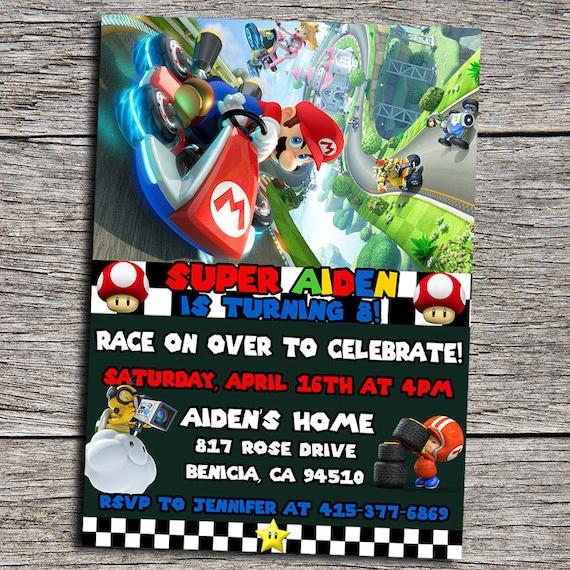 Mario Kart Birthday Party Invitation Digital By