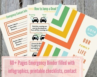 PDF Printable Emergency Binder | Babysitter Reference Guide | First Aid Kit | Home Management Printable | Emergency Info | Pet Safety