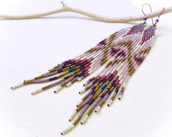 Vintage pink long earrings seed beads fringes - French designer- multicolored exclusif pattern