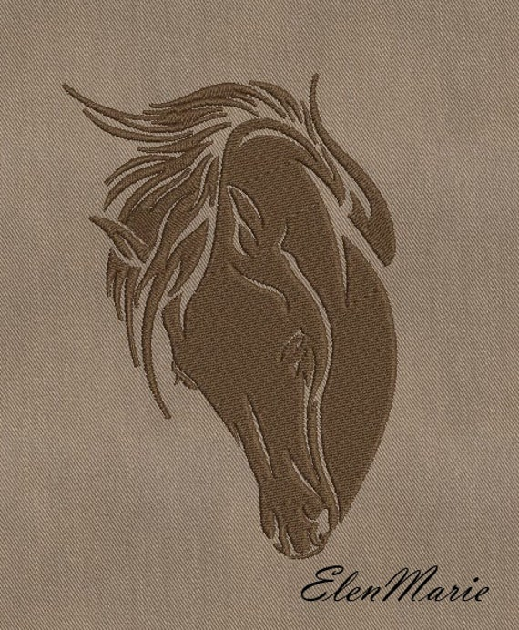 Horse machine embroidery design