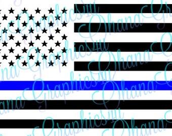 American Flag Police Blue Line SVG