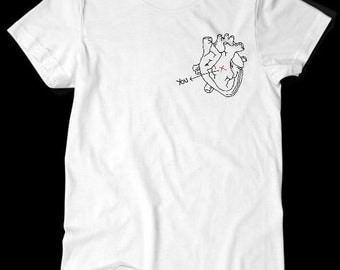 You are Here Heart Pocket TShirt White