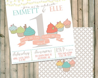 Twin or Triplet Birthday Invitation - Cupcakes