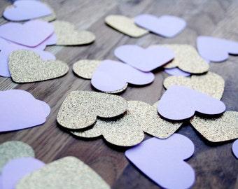 Glitter gold and light purple heart confetti, READY TO SHIP in 1-2 days, Heart confetti, Paper hearts, Gold hearts, Wedding confetti, Hearts