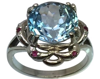 Blue Topaz & Ruby Silver Ring, Free Sizing