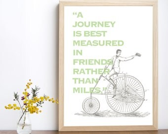 Travel Print, Travel Quote, Bicycle, Art Print, Wall Decor, Downloadable Art,  Downloadable Print, Modern Decor, Printable, Illustration