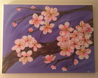 Cherry Blossoms on Canvas