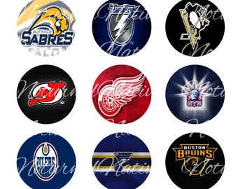 INSTANT DOWNLOAD !!! - NHL Hockey - Digital Collage 1 inch Bottlecap Images - Buy 1 Get 1 Free !!!