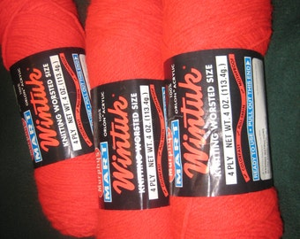 3 VTG Wintuk YARN skeins~4 Ply~100% Acrylic 4-oz. Skeins ~ Red