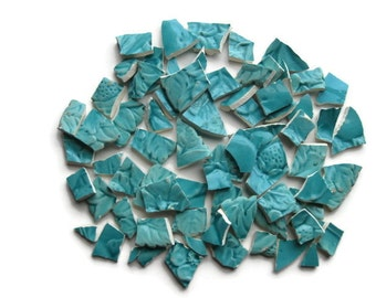 Mosaic Tiles- Plate Back Stamp- Teal color Pottery- Broken Plate- Raised Design- 60+ Pieces- Hand Cut- #120