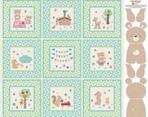 RILEY BLAKE FABRIC teddy bears picnic cotton panel