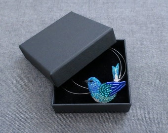 Embroidered bird Necklace blue - embroidery Haute Couture - jewelry Textile - Lunéville