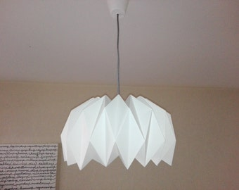 Lamp white paper folded origami style
