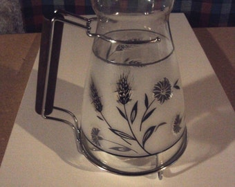 Vintage Juice Libbey Wheat Harvest Frosted Carafe-1950's-VGC