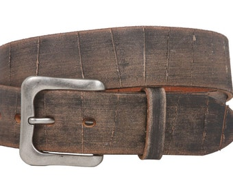 """Snap On 1 1/2"""" Soft Hand Vintage Cowhide Full Grain Leather Casual Belt(100903)"""