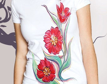 T-shirt  Flowers, tulips ,Painting,Hand-made,Gift,Summer