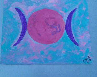 Wiccan Triple Moon Goddess Original acrylic painting