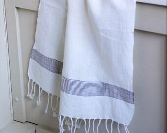 Small handwoven navy stripe towel