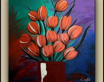 "SALE Original Painting, Abstract, Contemporary Painting, Flower Painting, 24""x24"" Ready to Hang"